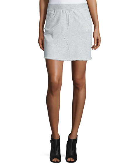 ATM Cotton Terry Pencil Skirt, Gray Melange