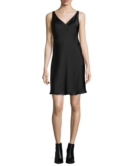 ATM Sleeveless Pyramid-Yoked Satin V-Neck Mini Dress, Black