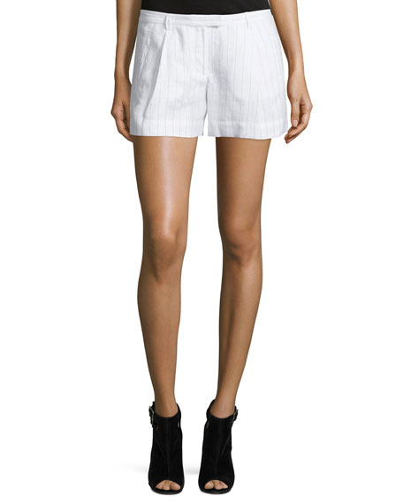 ATM Anthony Thomas Melillo Striped Pleated Boyfriend Shorts,