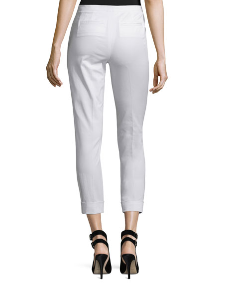 Stretch Twill Cropped Slim-Fit Pants, White