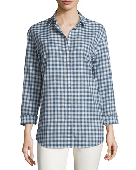 Lafayette 148 New York Sabira Long-Sleeve Gingham Blouse,