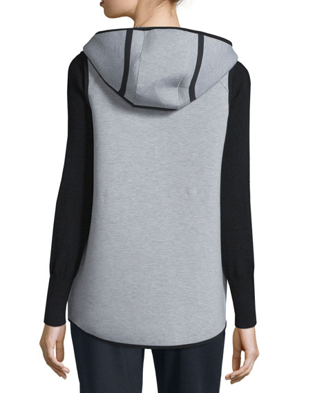 Margie Hooded Knit Vest, Light/Medium Gray