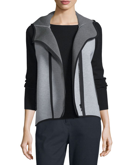 Elie Tahari Margie Hooded Knit Vest, Light/Medium Gray