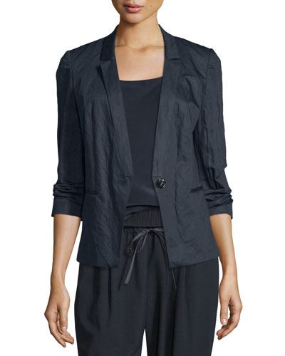 Adrian One-Button Charmeuse Blazer, Ink