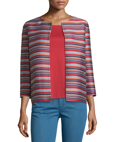 Alejandra Bracelet-Sleeve Striped Jacket, Red Rock/Multi