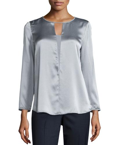 Dara Bracelet-Sleeve Silk Blouse, Zinc