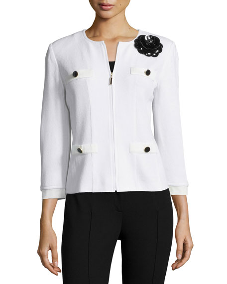 St. John Collection Santana Embellished Zip-Front Jacket, Bright