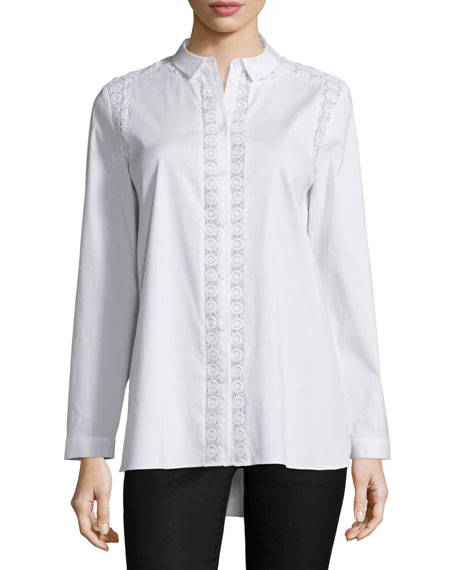 Lafayette 148 New York Alexine Eyelet-Trim Blouse, White