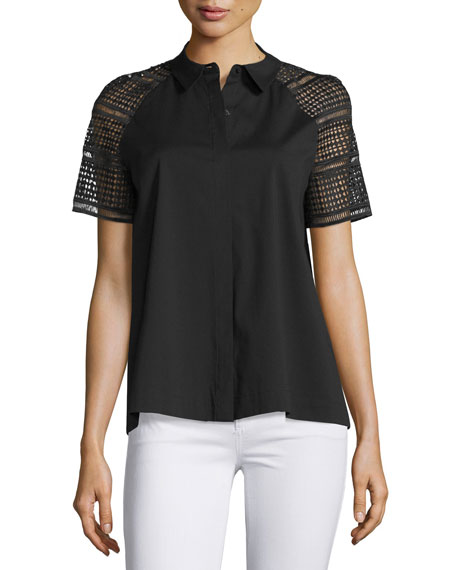 Lafayette 148 New York Ingrid Lace-Sleeve Button-Front Blouse,