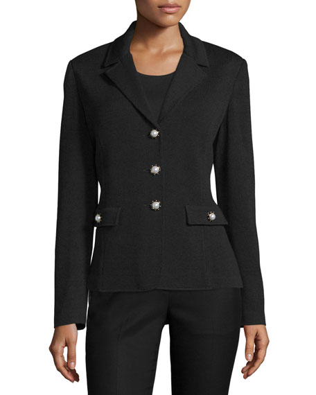 St. John Collection Three-Button Knit Blazer, Black