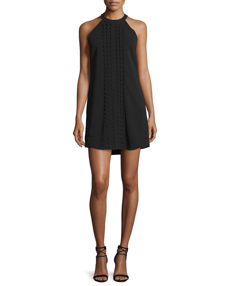 A.L.C. Liv Sleeveless Scalloped Mini Dress, Black