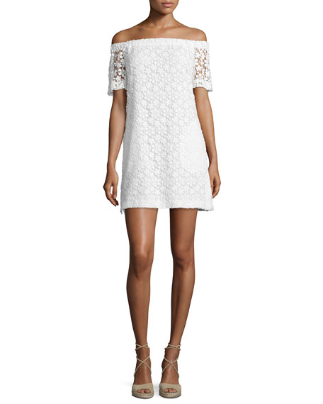 A.L.C. Bolen Off-the-Shoulder Embroidered Mini Dress, Ivory