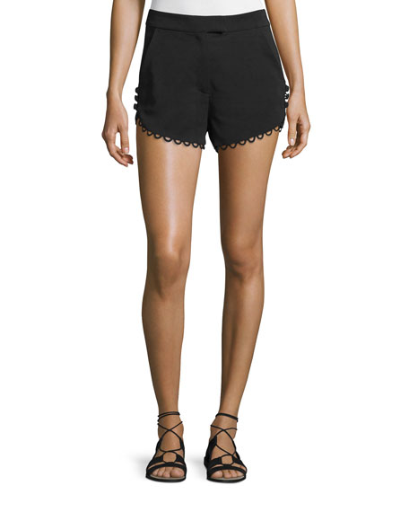 A.L.C. Lucas Scalloped Crepe Shorts, Black