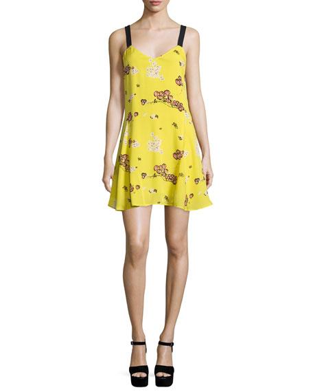 A.L.C. Serena Sleeveless Floral Silk A-Line Dress, Cactus
