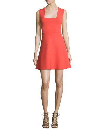 Ali Sleeveless Stretch Jersey Mini Dress, Guava