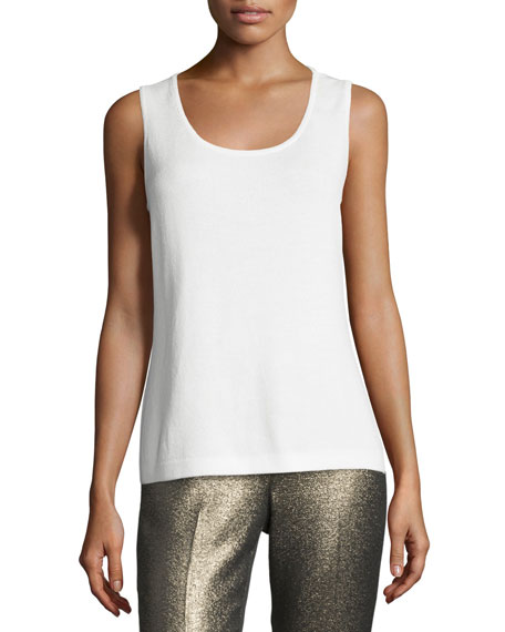 St. John Collection Scoop-Neck Contour Tank, Bright White