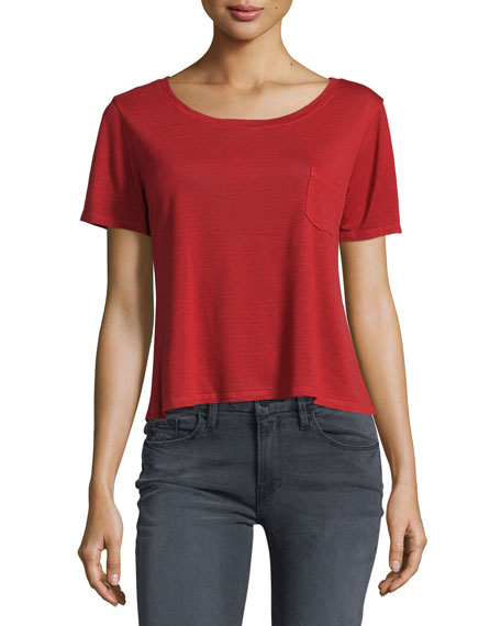 FRAME Boxy Short-Sleeve Tee, Crimson