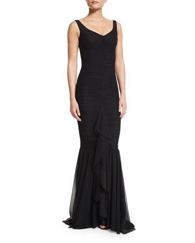 Fenice Sleeveless Ruched Ruffle-Front Dress