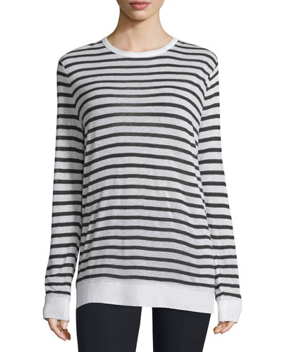 Long-Sleeve Striped Linen-Blend Top, Ink/Ivory