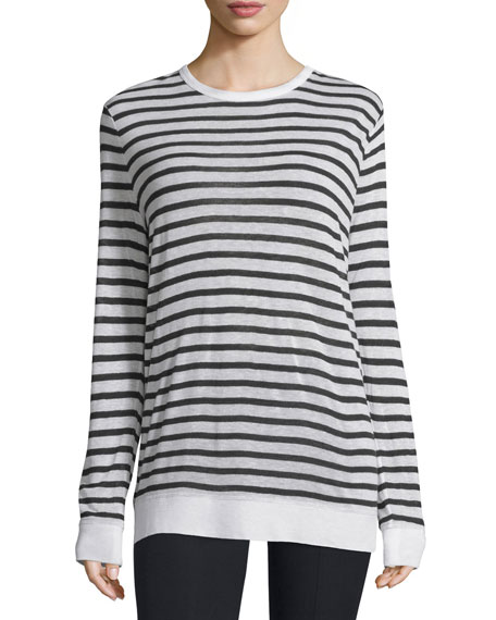 T by Alexander WangLong-Sleeve Striped Linen-Blend Top, Ink/Ivory