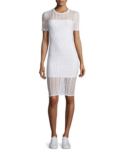 Short-Sleeve Jacquard Sheath Dress, White