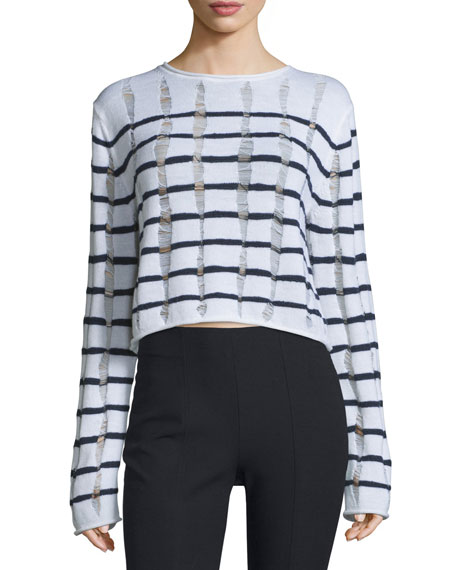 T by Alexander WangDistressed Striped Boxy Sweater, Ink/Ivory