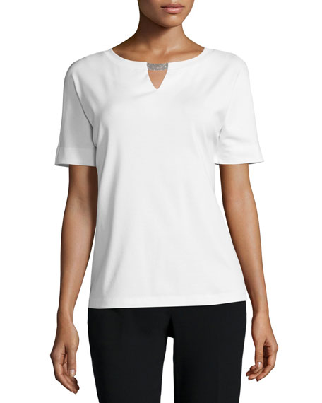 Lafayette 148 New York Short-Sleeve Embellished-Neck Top, White
