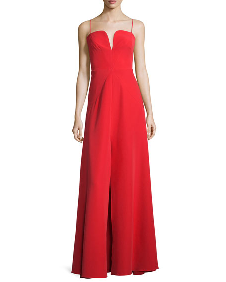 Milly Sleeveless Sweetheart Front-Slit A-line Gown