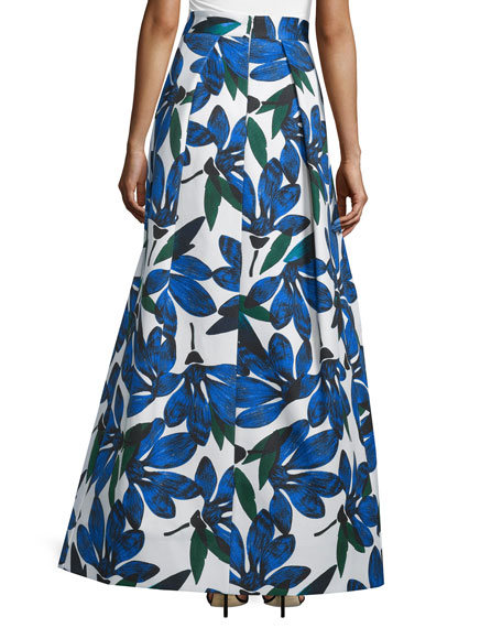 Floral-Printed Ball Skirt, Blue