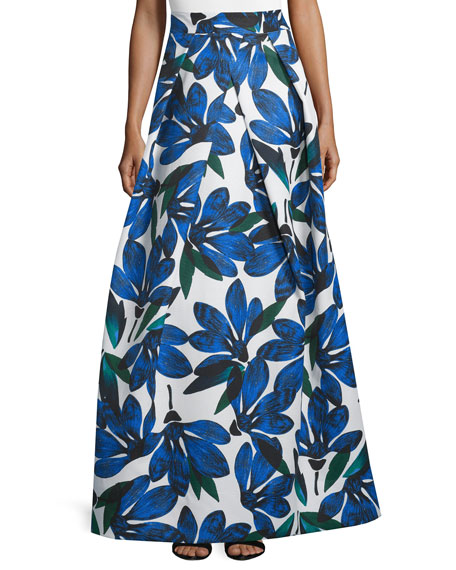 Milly Floral-Printed Ball Skirt, Blue