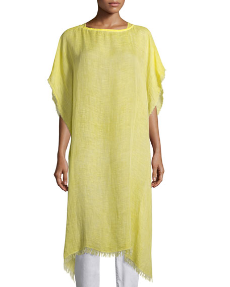 Eileen Fisher Short-Sleeve Airy Linen Maltinto Long Poncho,