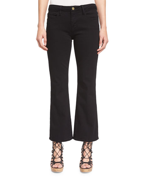 FRAME Le Crop Mini Boot-Cut Jeans, Film Noir