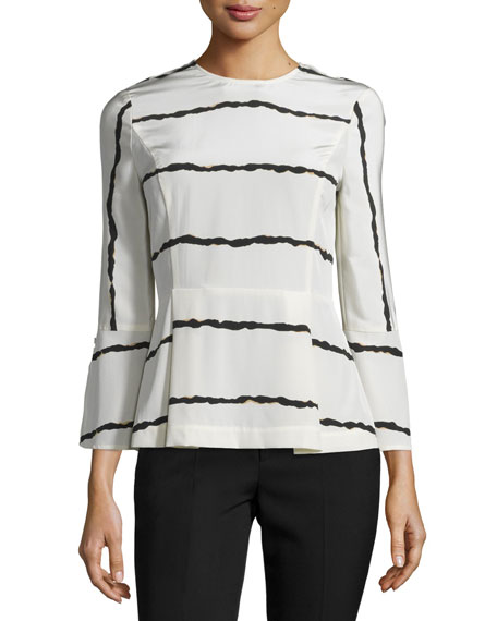 Derek Lam 10 Crosby Striped Silk Bell-Sleeve Blouse,
