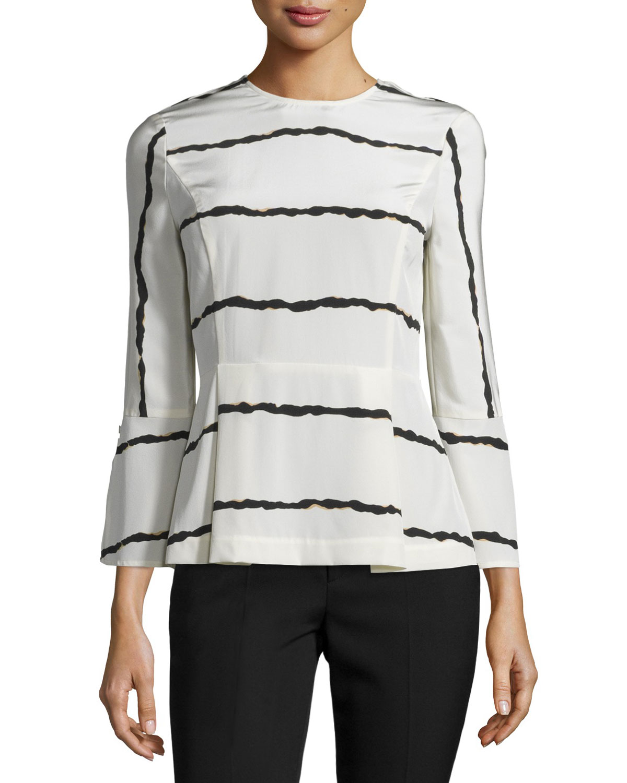 1a54595073612 Derek Lam 10 Crosby Striped Silk Bell-Sleeve Blouse