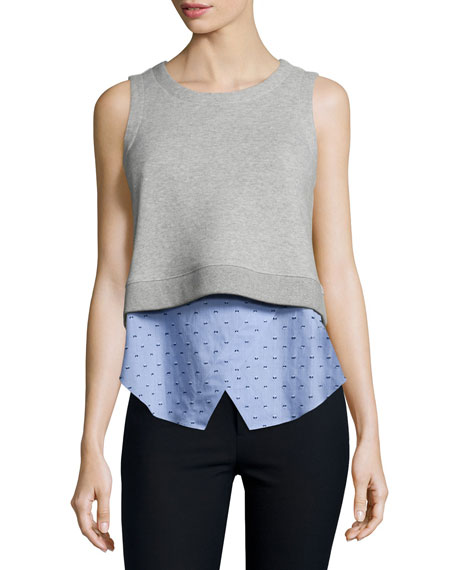 Knit Sweatshirt Combo Tank, Blue/Gray