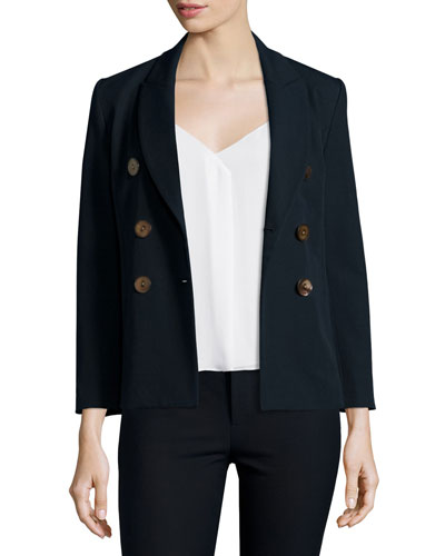 Double-Breasted Cotton-Blend Jacket, Midnight