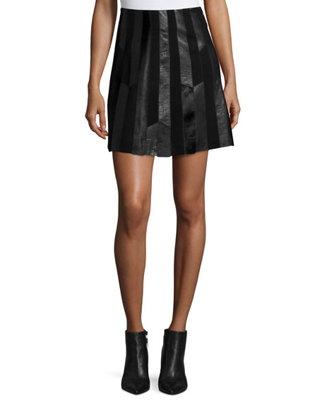 Patchwork Leather A-Line Skirt, Black