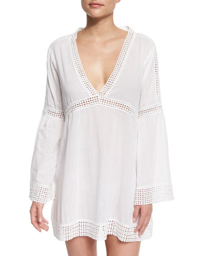 Tara Embroidered-Inset Tunic Coverup