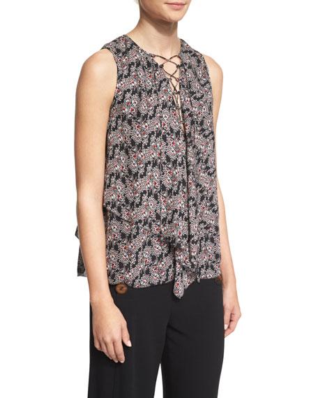 Derek Lam 10 Crosby Sleeveless Floral Silk Lace-Up