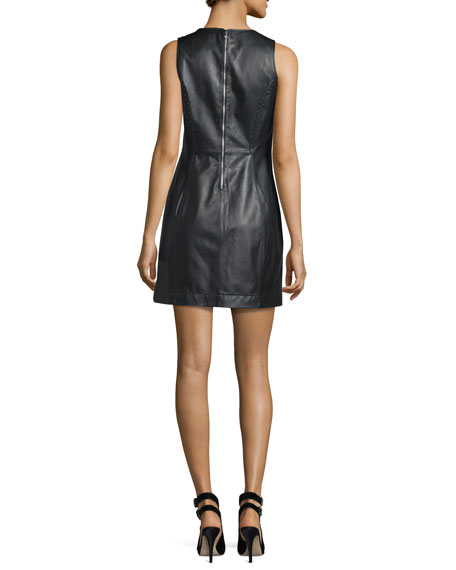 Elara Leather Mini Dress, Black