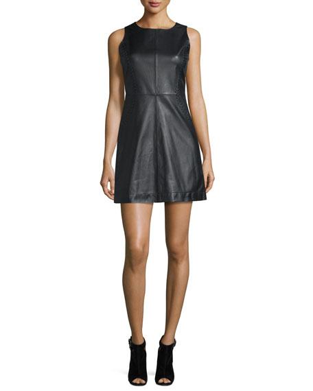 J Brand Elara Leather Mini Dress, Black