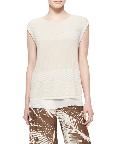 Lafayette 148 New York Cap-Sleeve Multi-Stitch Sweater