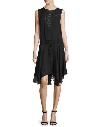 Meloni Sleeveless Silk Handkerchief Dress, Black
