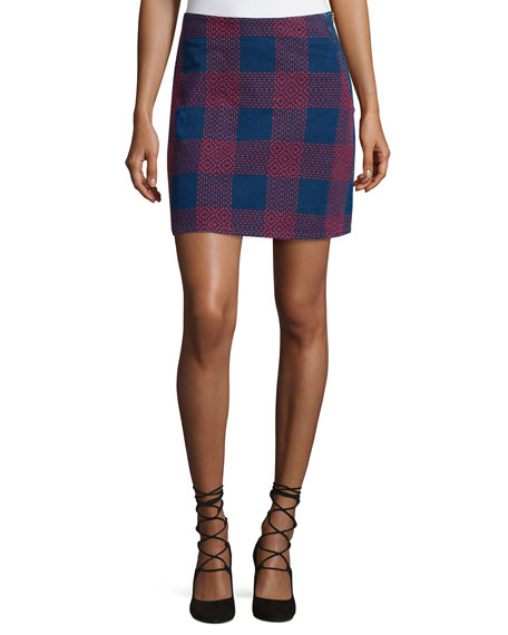 MiH Morro Embroidered-Plaid Mini Skirt, Blue