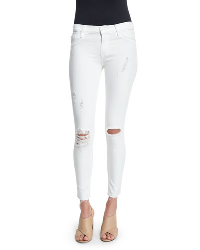 Nico Super-Skinny Distressed Ankle Jeans, White