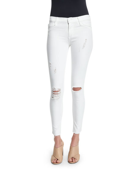 Hudson Nico Super-Skinny Distressed Ankle Jeans, White