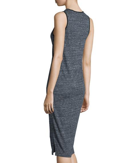 Melange Henley Jersey Dress, Midnight/Steel