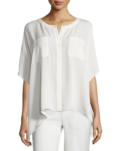 Karrly Dolman-Sleeve Silk Button-Front Top, Canvas White