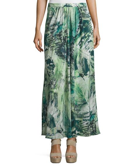 Lafayette 148 New York Yasmine Printed Maxi Skirt, Mint/Multi