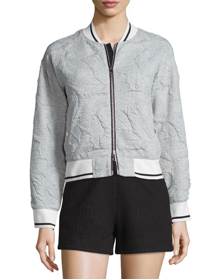 QUILTED BOMBER HEATHER GREY